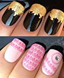 WATER DECALS NAIL TRANSFERS STICKERS! #151 PLUS GOLD LEAF SHEET FOR CUSTOM DESIGNED NAIL! ANIMAL PRINT FLOWERS BOWS LACE FRENCH TIPS WRAP & 24KT GOLD LEAF! CAN BE USED WITH NATURAL GEL ACRYLIC STICK ON NAILS! USE WITH GLITTER DUST CAVIAR BEADS ALLOYS DEC