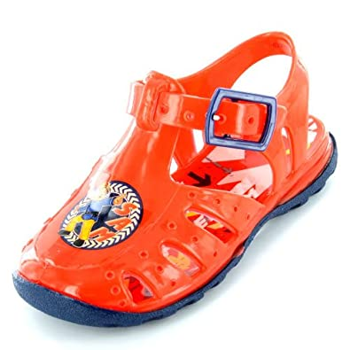 New Boys/Childrens Red Fireman Sam Jelly Fisherman Style Sandals - Red - UK SIZE 4