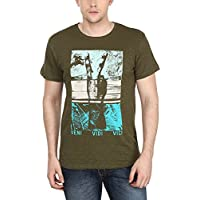 Hot Pool Men's Cotton Slub T-shirt Green & Blue HP-CS-03_M