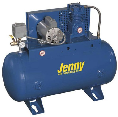 Jenny J5A-80 Single Stage Horizontal Corded Electric Powered Stationary Tank Mounted Air Compressor with J Pump, 80 Gallon Tank, 3 Phase, 5 HP, 230V