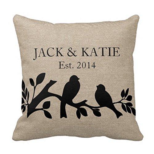 Custom Namen Leinen Jute Rustikal Jute Love Birds Kissenbezug Kissen Kissenbezüge, 18x 18