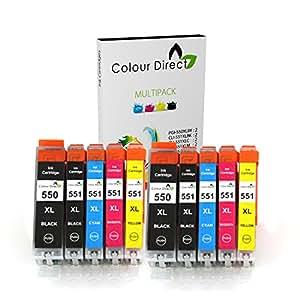 10 XL ColourDirect CLI-551XL/ PGI-550XL Compatible Ink Cartridges for Canon Pixma MG5450 MG5550 MG5650 MG6350 MG6450 MG6650 MX725 MX925 MX725 MG7150 iP7250 Printers