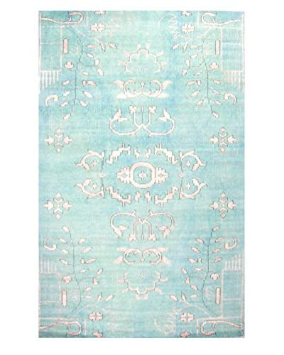 Meva Rugs Medallion Hand-Knotted Rug, Light Blue, 5' x 8'
