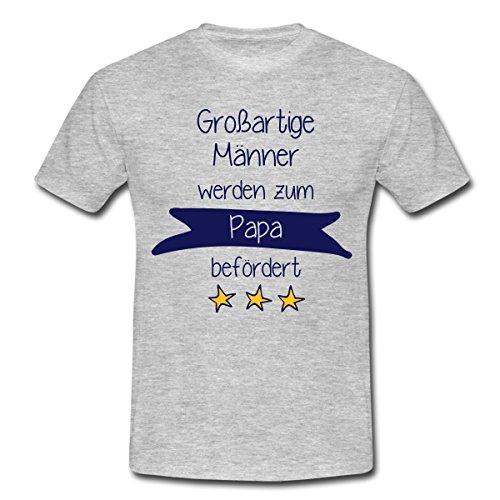 Beförderung Papa Männer T-Shirt von Spreadshirt®, 3XL, Grau meliert