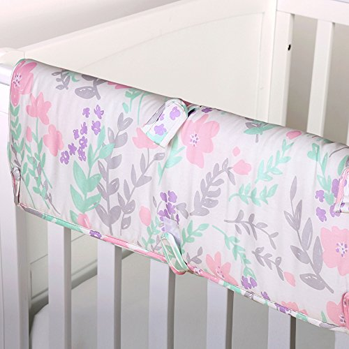 Pink-and-Mint-Green-Floral-Print-Padded-Crib-Rail-Guard-by-The-Peanut-Shell