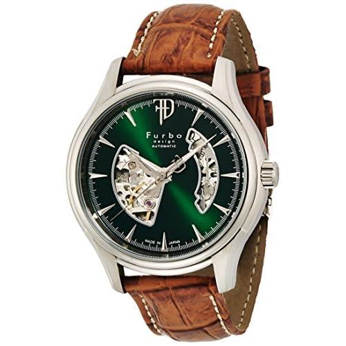 [フルボデザイン]Furbo design 腕時計 自動巻き F5025 日本製 グリーン 茶革 F5025SGRBR メンズ