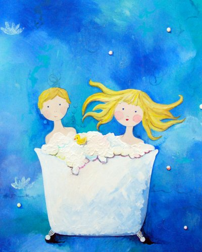 Cici Art Factory Wall Art, Two in a Tub Blonde, Small