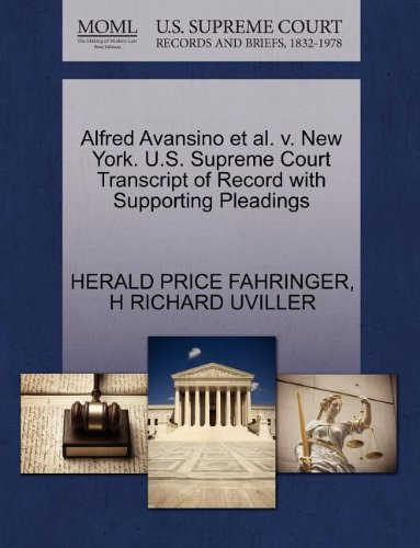 Alfred Avansino et al. v. New York. U.S. Supreme Court Transcript of Record with Supporting Pleadings