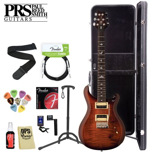 Paul Reed Smith SE Custom 24 Tobacco Sunburst Electric Guitar Kit with Gig Bag & PRS Pick Sampler Pack - Includes: Guitar Stand, Strap, Polish, Polishing Cloth and Hard Case. Fender Accessories included: 250L Light Strings, String Winder, FT-004 Clip-on Tuner, and 10' Cable