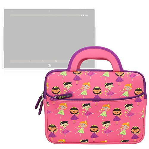 Nabi Elev-8 Case Evecase Kids Tablet Neoprene Sleeve Carrying Case Compatible with Fuhu Elev-8 inch Android Tablet, NABI 2, nabi 2S Tablet PC (SN02-NV07A-WH)- Cute Princess Themed (Fuhu Nabi 2 Accessories compare prices)