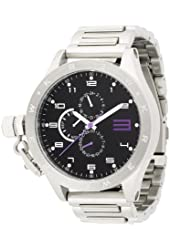 KR3W Men's K1083-SIL Krucible Black Dial Stainless Steel Watch