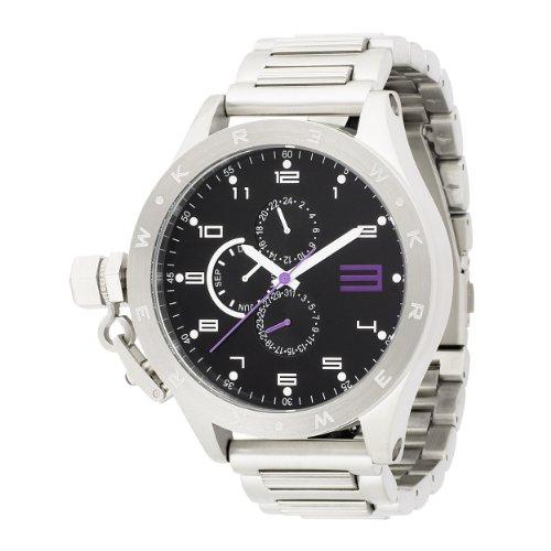 KR3W Men's K1083-SIL Krucible Black Dial Stainless Steel Watch
