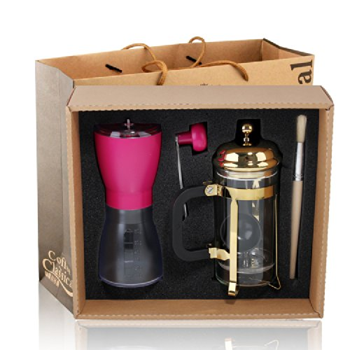 Pink French Press Coffee Maker : Pink Coffee Grinder+ 350ml Coffee Press Espresso Machine Reviews