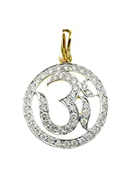 Gold Plated American Diamond Om Religious Pendant For Men And Women By Via Mazzini