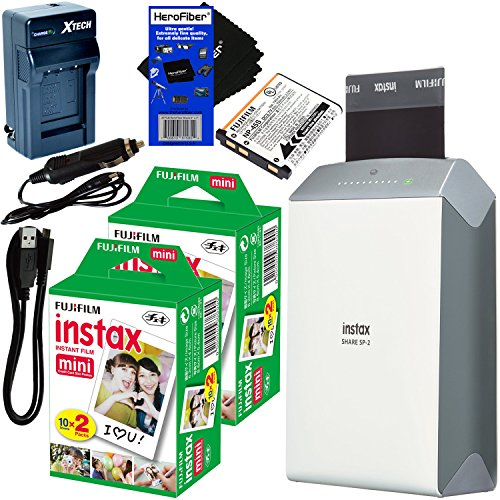 Fujifilm-instax-SHARE-Smartphone-Printer-SP-2-Silver-International-Version-Instax-Mini-Instant-Film-40-sheets-Rchrgbl-Battery-ACDC-Charger-HeroFiber-Gentle-Cleaning-Cloth