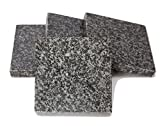Home Basics CS44555 4 Piece Granite Coaster Set, Black