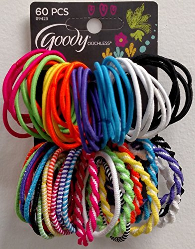 Goody Girls Assorted Elastics, No Metal Ouchless, Color May Vary - Dark Colors- 60 Count