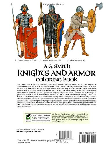 Knights and Armour Colouring Book (Dover Fashion Coloring Book)
