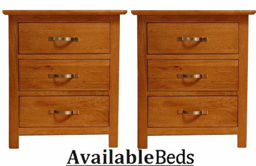 Devon Oak 3 Drawer Oak Bedside Table (PAIR)