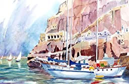 Boats At Santorini, Giclee Print of a Watercolor Seascape, Picture of Sailboats Docked on a Greek Island, 13 X 20 Inches