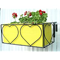 Green Gardenia Iron Heart Design Railing Planter With Wooden Box-Yellow