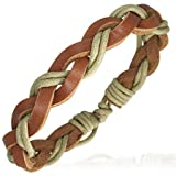 Multi-Wrap Leather Braided Rope Adjustable Surf Style Bracelet, Length 20cms