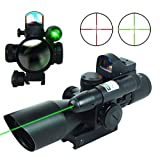 2.5-10x40 Tactical Rifle Scope Dual Illuminated Mil-dot W/ RED(GREEN) Laser Sight, Rail Mount and 4 Reticle Red/Green Dot Reflex Sight (Green)