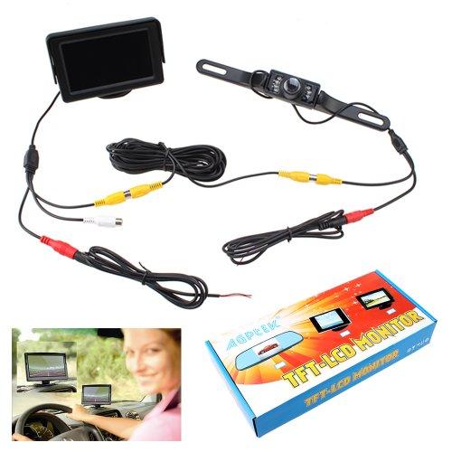 Agptek® 4.3 Inches Tft Lcd Digital Car Rear View Monitor Screen + Durable Car Vehicle Backup License Plate Camera