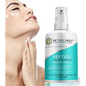 Retseliney Best Face & Neck Firming Cream to Lift Loose & Sagging Skin, Tightens & Smoothes Chest, Natural & Organic, Anti Aging Daily Moisturizer Creme for Wrinkles, Vitamin C, 5% Glycolic Acid