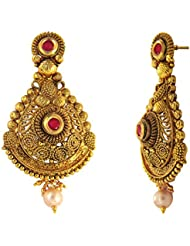 Traditional Ethnic Red Floral Spiral Gold Plated Dangler Earrings With Crystals For Women By Donna ER30120G
