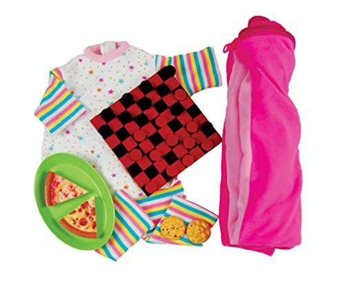 "Sleepover Party Clothing and Accessory Set, Checkers Set, Pizza Platter with Pepperoni and Cheese Slices, 2 Chocolate Chip Cookies, Pajamas , Sleeping Bag, Accessories Fits 18"" American Girl Dolls"