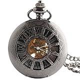 [モノジー] MONOZY 手巻き 機械式 懐中時計 - アーマードウォッチ - 【収納袋、化粧箱】 両面 スケルトン 懐中時計