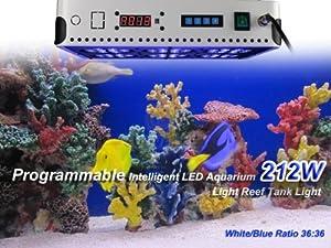 Newest Update TaoTronics® TT-AL15 212w Programmable Intelligent LED Aquarium Lighting Led Reef Light for Coral,Fish, Seaweed, Run Sunrise Sunset Daylight and Moonlight Automatically (White/Blue Ratio 36:36)