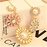 TPT 1pc Resin Rhinestone Pearl Daisy Flower Collar Bib Necklace Jewelry (Colorful)