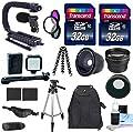 DSLR / Camcorder Accessory Kit + 2 32GB Transcend SD Cards + LED Light Kit + Wide, Tele, & Fisheye Lenses + Video Mic + Scorpion Grip + Deluxe Back Pack + Tripod- For Canon / Nikon / Sony / Panasonic