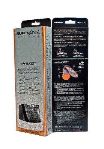 Superfeet Solette Premium Merino Grigio|Copertura Lana Termica|Profilo Arco Alto
