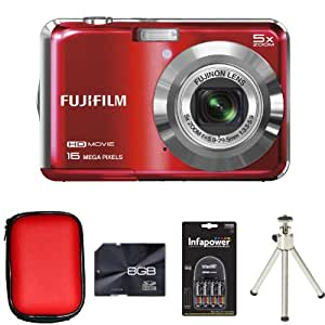Fujifilm FinePix AX650 Red + Case + 8GB Card + 2xAA Battery + Charger + Tripod (16MP, 5x Optical Zoom) 2.7 inch LCD