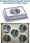 OLAF ELSA ANNA FROZEN 24 BONUS CUPCAKE TOPPERS with purchase of 1/4 Sheet Cake Topper Edible Image Picture Frosting Sheet Cake Topper