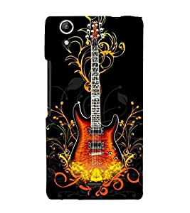 Fire Aaag Floral Guitar 3D Hard Polycarbonate Designer Back Case Cover for Micromax Canvas Selfie 2 Q340