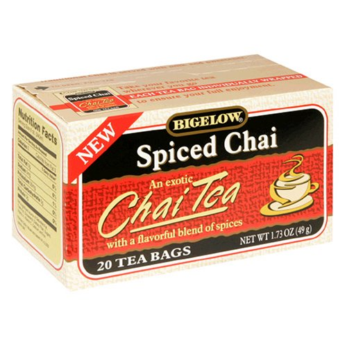 Buy Bigelow Spiced Chai Tea, Tea Bags, 20-Count Boxes (Pack of 12) (Bigelow, Health & Personal Care, Products, Food & Snacks, Beverages, Tea, Black Teas)