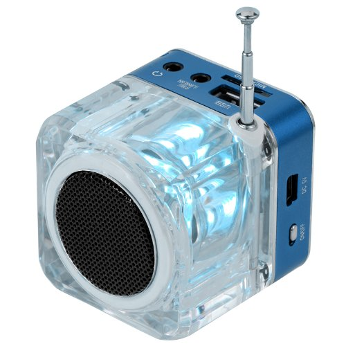 Tomtop Mini Digital Portable Music Mp3/4 Player Micro Sd/Tf Usb Disk Speaker Fm Radio (Blue)