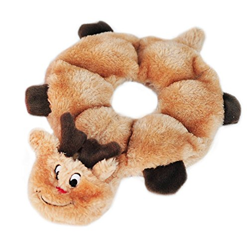 Holiday Loopy Reindeer Squeaky No Stuffing Dog Toy