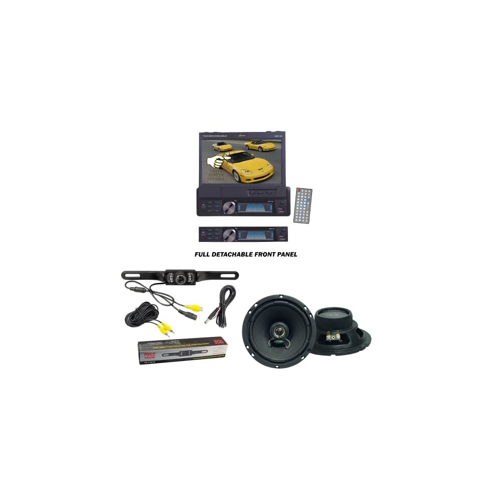 Lanzar Car DVD Player, Speaker and Pyle Camera Package   SDBT73N 7 Single Din In Dash Motorized Touch Screen TFT/LCD Monitor With DVD/CD//MPEG4/USB/SD/AM/FM/RDS Receiver   VX620 VX 6.5 Two Way Speakers   PLCM10 License Plate Mount Rear View camera w
