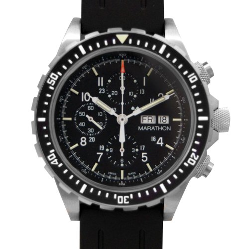 MARATHON WW194014 Men's Chronograph Pilot's Automatic Black Dial Watch with Tritium