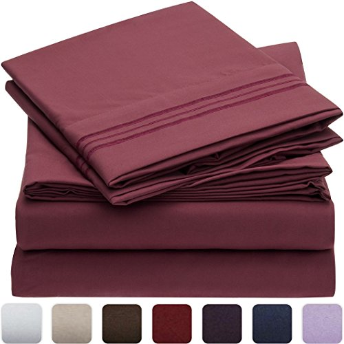 Mellanni-Bed-Sheet-Set-HIGHEST-QUALITY-Brushed-Microfiber-1800-Bedding-Wrinkle-Fade-Stain-Resistant-Hypoallergenic-3-Piece-Twin-Burgundy