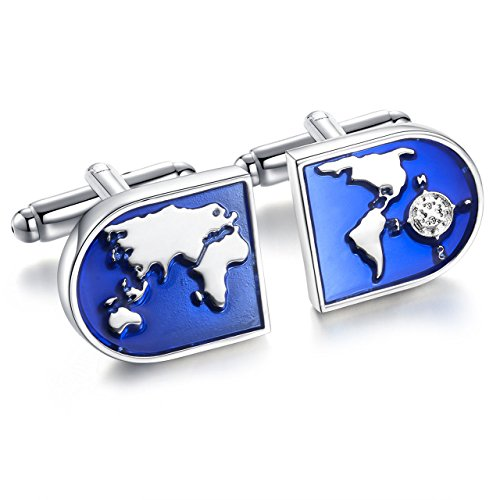 Areke Jewelry World Map Shirts Cufflinks for Men, Wedding Business Tuxedo Cuff Links Blue Silver Style 1 Pair (Antique Mall Software compare prices)