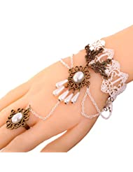 Yazilind Jewelry Noble Lolita Flower Acrylic Waterdrop Beads White Lace Slave Bracelets with Ring