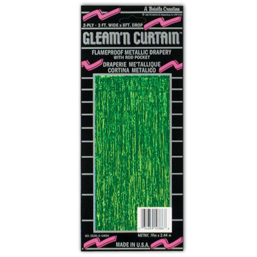 1-Ply FR Gleam 'N Curtain (green) Party Accessory  (1 count) (1/Pkg)