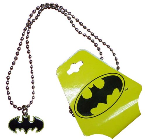 : BATMAN Silver Die-Cut Metal Logo Necklace with Yellow Border (BMNK06)