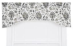 Ellis Curtain Eugene Open Floral Print Lined Arched Valance, 50 by 17-Inch, Shadow